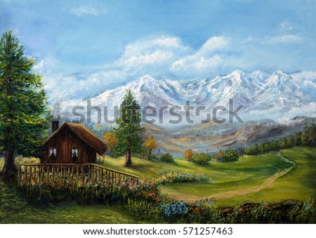 Original oil painting of house or chalet in the mountains on canvas.Mountain landscape.Modern Impressionism