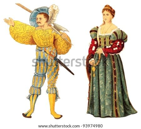 Landsknecht and venetian noblewoman (Renaissance) / vintage illustration from Meyers Konversations-Lexikon 1897