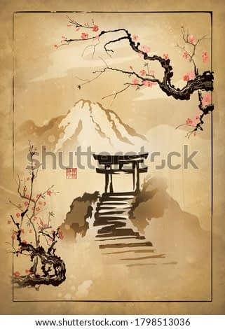 Torii gate and Sakura branches in the mountains. Drawing on old paper. Illustration in oriental style. Hieroglyphs in seal - Quiet World.