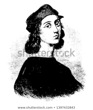 Raphael Sanzio are from the painting by himself vintage line drawing or engraving illustration.