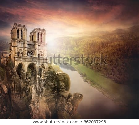 Castle in the mountains. Fantasy digital art with soft oil painting style.