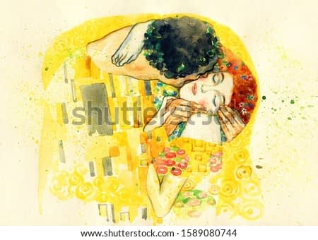 The kiss. illustration. watercolor painting