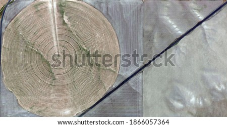 Archimedes' principle,   United States, abstract photography of relief drawings in fields in the U.S.A. from the air, Genre: abstract expressionism, abstract expressionist photography,
