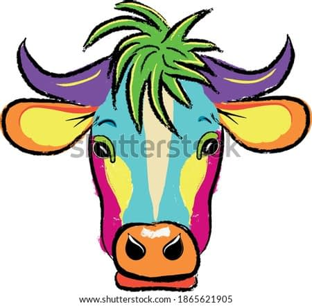 Colored cow's head. Vector illustration