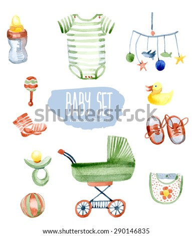 Baby set. Vector watercolor illustration.