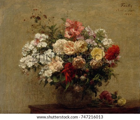 Summer Flowers, by Henri Fantin-Latour, 1880, French impressionist painting, oil on canvas. The dahlias, phlox, and roses in the bouquet were picked near the artist\x90s country home in Bure, Normandy
