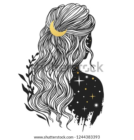 Mysterious lady with moon in her hair. Vector hand drawn illustration in boho style