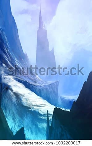 Winter landscape cliff road to the fantasy building on the mountain, coming home concept, digital art style, illustration colors painting
