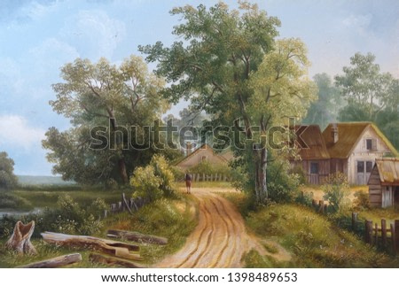 Road in the forest. landscape.  In the style of the ancient Dutch masters.  Mozharov Pavel . Painting oil canvas 2019.