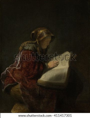 Old Woman Reading, Probably the Prophetess Hannah, by Rembrandt, 1631, Dutch painting, oil on panel. An old woman, probably Rembrandt's mother, as the prophetess Hannah, seated, reading a book