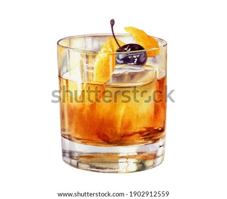 Old Fashioned cocktail in a rocks glass with a Luxardo Cherry watercolor illustration isolated on white background