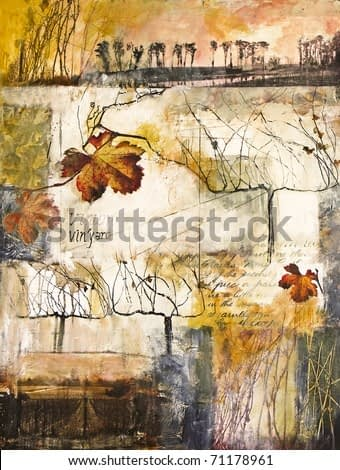Mixed media collage painting of vines and vine leaves