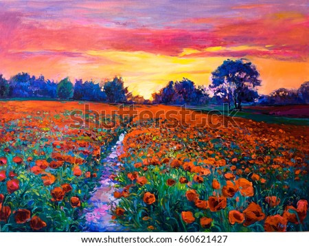 Oil painting of a poppy field. Sunset over the red field. Modern art
