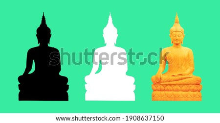 gold Buddha statue isolated with Clipping paths