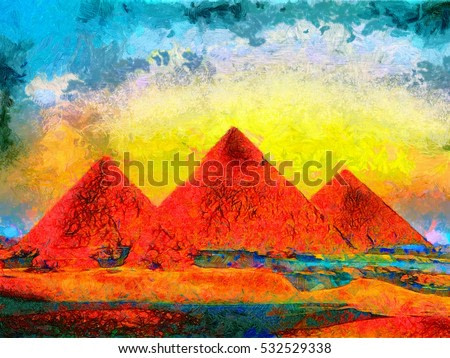 Giza Pyramids colorful oil painting