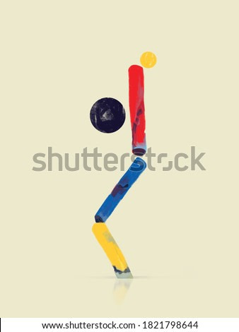 Lifestyle balance concept with balanced equilibrium Illustration. Meditation symbols. Abstract Modernism Painting with Volume.  Bauhaus and Kandinsky vibe. For Print and Poster.