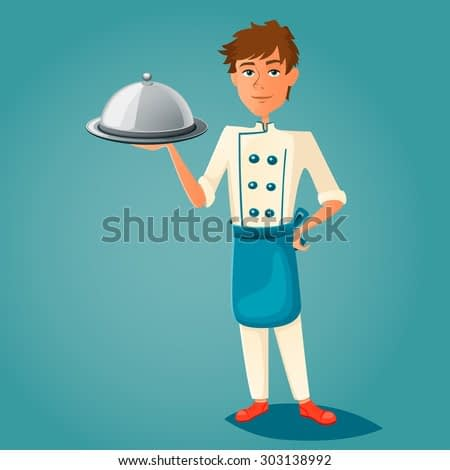 Chef cook holds a tray. Vector illustration.