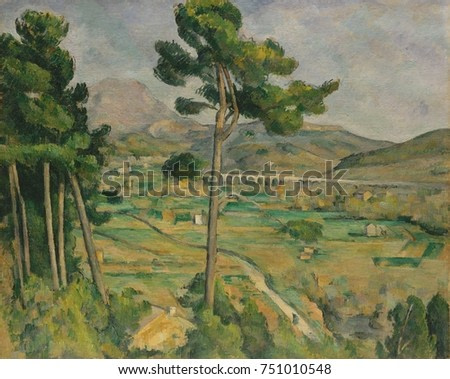 Mont Sainte-Victoire, Viaduct of the Arc River Valley, by Paul Cezanne, 1882-85, Post-Impressionism. Cezannes native city of Aix-en-Provence is in the distance, above the banks of the Arc River Valley