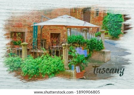 Ancient street decorated with flowers, Italy, watercolor painting