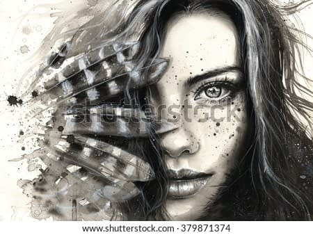 Black and white watercolor hand painted portrait of a girl with feathers and freckles. Expressive look. Ink splatters