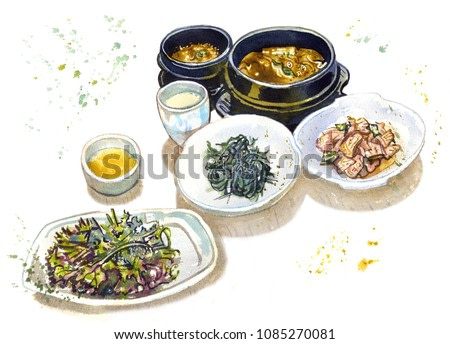 Traditional korean food. Soup, salads, beverages  on a white background. Asian cuisine, south korean famous dishes, meal time, tourism. Hand drawn sketchy watercolor illustration with drops and splash