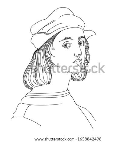 self portrait of a young Italian Renaissance artist & architect Raphael Santi in a cap, vector illustration with black contour lines isolated on white background in hand drawn style