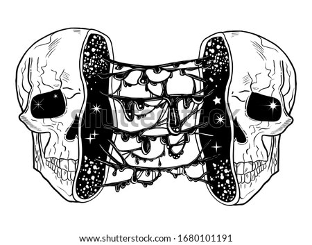 Tattoo art style illustration of open skull with slime goo inside. Dark, gothic, witchy vibes. Radioactive zombie portrait.