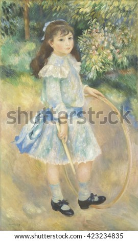 Girl with a Hoop, by Auguste Renoir, 1885, French impressionist painting, oil on canvas. Renoir was commissioned to paint this portrait of a nine-year-old named Marie Goujon. He painted it after his