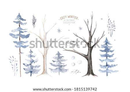 Watercolor deer with fawn, rabbits, birds isolated on white background. Wild forest animals set. Hand painted winter illustration.