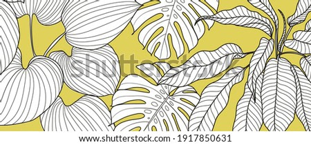 Yellow illuminating Tropical line art background vector. Botanical ultimate grey background design for wallpaper, prints, banners, fabric and wall art. vector illustration.