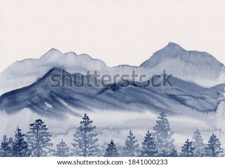 Watercolor sketch painting with asian mountains & forest. Hand drawn oriental style landscape with layers of rocks & fir trees. Concept for decoration, relaxation, restore, meditation background.