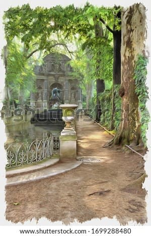 Oil paint on canvas. Picture with photo, imitation of painting. Illustration. Marie de Medici Fountain in the park near the Luxembourg Palace