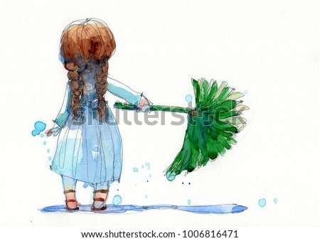 watercolor painting illustration set of girl in white dress with palm leaf, hand drawn on paper