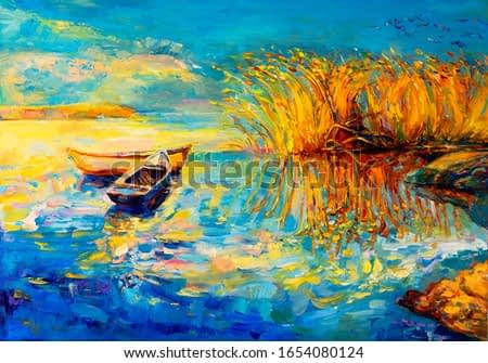Original oil painting on canvas. Boats.  Modern art