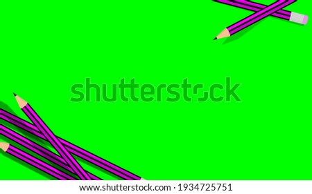 Illustration of a group of pencils in two corners of the image, with space to copy paste text, logo or design. Green paper. Painting, art concept, drawing teaching. Course, learning to draw. Pen erase