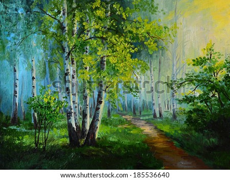 oil painting landscape - birch forest, abstract drawing, made ??in the style of Impressionism