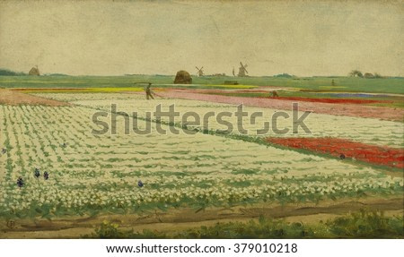 Tulpenvelden (Tulip Field), by Gerrit Willem Dijsselhof, c. 1890-1922, Dutch painting, oil on panel. View of flowering tulip fields with workers.