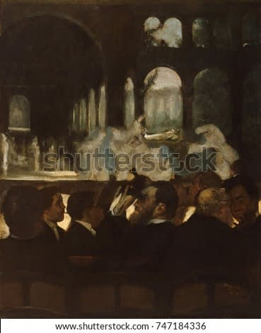 Ballet from Robert le Diable, by Edgar Degas, 1871, French impressionist painting, oil on canvas. The man with the binoculars looks into the audience, as nuns risen from the dead and dance amid the ru