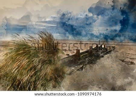 Digital watercolor painting of Beautiful beach coastal landscape image at sunrise with colorful vibrant sky