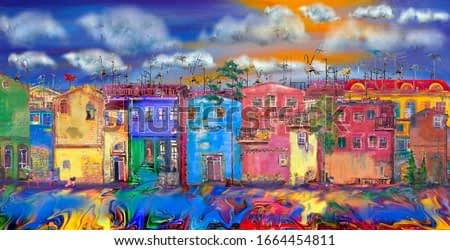 Clouds over a cozy summer street for 14 cats. Sityscape.