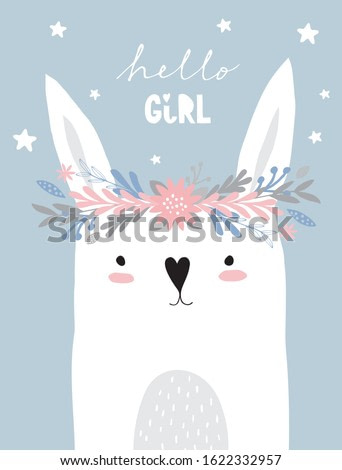 Funny White Bunny Wearing Floral Wreath. Lovely Nursery Art with Cute Rabbit Isolated on a Light Blue Background. Lovely Illustration for Card, Poster, Invitation Wall Art, Baby Girl Room Decoration.