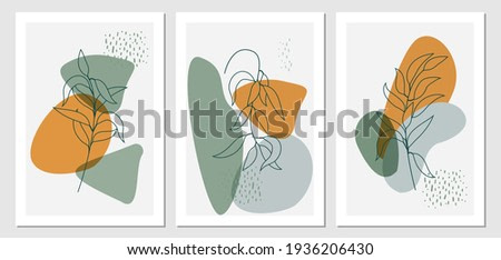 Botanical wall art boho style vector set. Tropical Foliage line art drawing with abstract shape. Plant Minimal and natural wall art. Ideal for art gallery, Set of trendy minimalist botanical interior