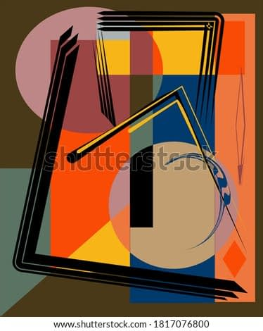 Abstract  brown background ,fancy  geometric and curved shapes , expressionism art style