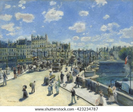 Pont Neuf, Paris, by Auguste Renoir, 1872, French impressionist painting, oil on canvas. Renoir's brother Edmond, in a straw boater and carrying the boulevardier's cane, appears twice in the crowd.