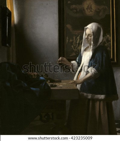 Woman Holding a Balance, by Johannes Vermeer, c. 1664, Dutch painting, oil on canvas. A painting of the Last Judgment hangs on the back wall of the room, implying judgement, as the scale balances wor