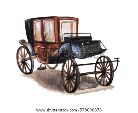 Vintage Carriage, hand drawn watercolor illustration