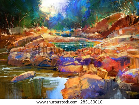 beautiful fall river lines with colorful stones in autumn forest,digital painting