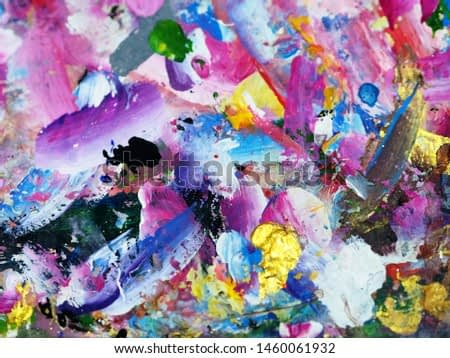 Hand draw colorful texture oil painting abstract background on wooden.