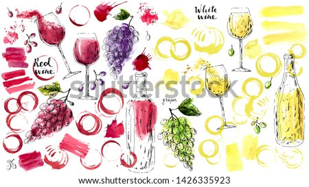 Hand drawn ink and watercolor sketch of red and white wine glasses, wine bottles, stains, splashes, glass prints, grapes. Illustration for food and drink background or package label.