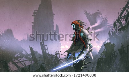robot with glowing sword standing alone in the apocalyptic city, digital art style, illustration painting